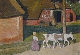 Otto Modersohn: Bauernhaus mit Ziegen und Kindern