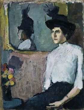Hermann Stenner: Frau mit Hut vor einem Spiegel