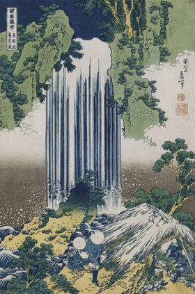 Katsushika Hokusai: Der Yoro Wasserfall in der Provinz Mino. Aus der Serie: Eine Reise zu den Wasserfällen Japans