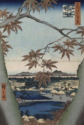 Ando Hiroshige: Ahornblätter, der Tekona Schrein und die Brücke. Aus der Serie: Hundert Ansichten von Sehenswürdigkeiten in Edo