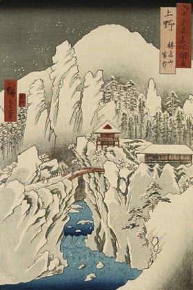Ando Hiroshige: Der Haruna Berg im Schnee. Aus der Serie: Ansichten berühmter Plätze