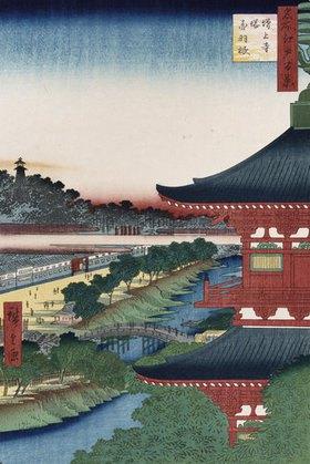 Ando Hiroshige: Der Tempel von Zojoji, Akabane. Aus der Serie: Hundert Ansichten von berühmten Orten in Edo