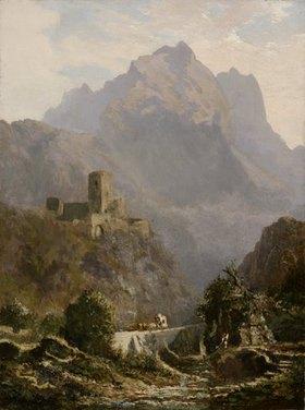 Carl Spitzweg: Romantische Abendlandschaft in Südtirol (Post im Gebirge)