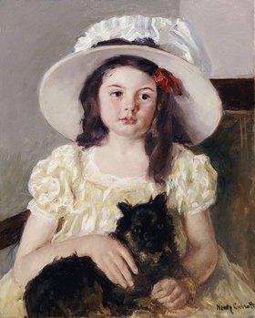 Mary Cassatt: Françoise mit einem kleinen schwarzen Hund