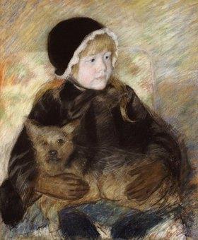 Mary Cassatt: Elsie Cassatt, einen großen Hund haltend