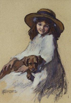 Elizabeth Adela Stanhope Forbes: Mädchen mit ihrem jungen Hund