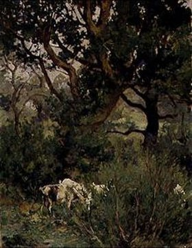 Hans von Hayek: Ziegen unter Bäumen