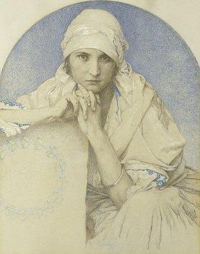 Alfons Mucha: Portrait von Muchas Tochter Jaroslava (Jarca)