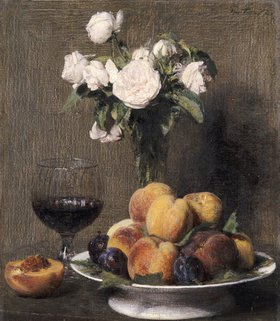 Henri de Fantin-Latour: Stillleben mit Rosen, Früchten und einem Weingls