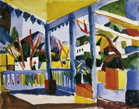 August Macke: Terrasse des Landhauses in St. Germain