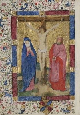 Unbekannter Meister: Kanonblatt mit Kreuzigung Christi, aus einer Missale. 2. H. 15.Jh