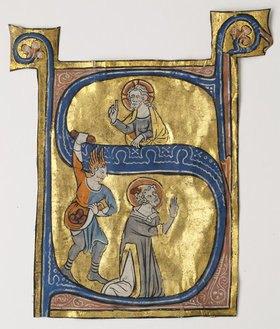 Unbekannter Meister: Initiale 'S' mit Steinigung des Hl. Stephnus aus einer liturgischen Handschrift