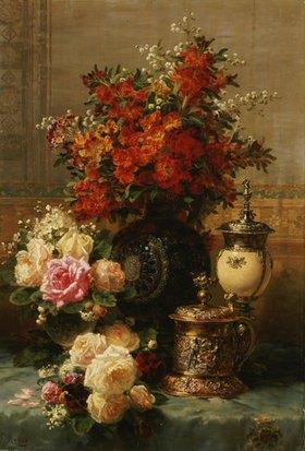 Jean Baptiste Robie: Stillleben mit Rosen und anderen Blumen