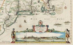 Nicolaes Visscher I: Weltkarte mit Allegorien der vier Elemente, aus einem Atlas, Amsterdam