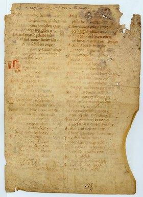 Handschrift: Wolfram von Eschenbach: Parzival (Bruchstücke einer Pergamenthandschrift)