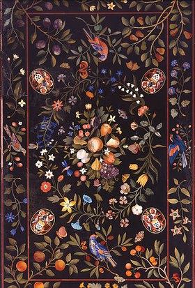 Großherzogliche Werkstatt: Florentinische Pietra-Dura  Tischplatte mit Marmor- und Lapislazuli-Intarsien