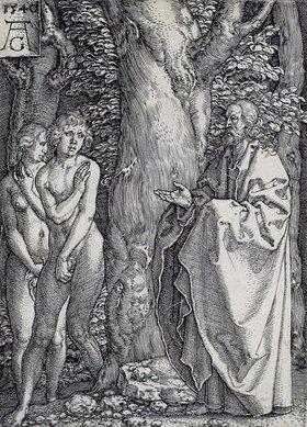 Heinrich Aldegrever: Die Geschichte von Adam und Eva: Adam und Eva bedecken ihre Scham