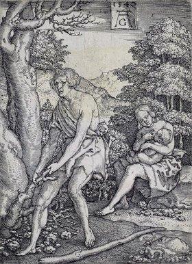 Heinrich Aldegrever: Die Geschichte von Adam und Eva: Adam und Eva arbeiten
