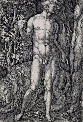 Heinrich Aldegrever: Die Geschichte von Adam und Eva: Adam mit einem Löwen