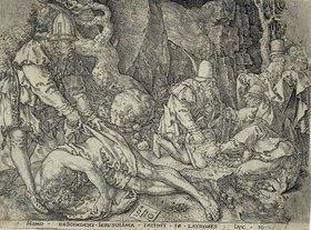 Heinrich Aldegrever: Das Gleichnis vom Barmherzigen Samariter: Der Reisende fällt unter die Räuber