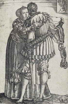 Heinrich Aldegrever: Tanzendes Paar (Blatt 6 der Folge: 'Die großen Hochzeitstänzer')
