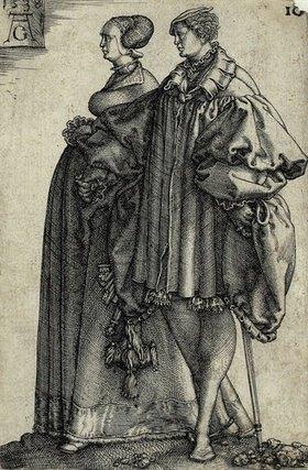 Heinrich Aldegrever: Tanzendes Paar (Blatt 10 der Folge: 'Die großen Hochzeitstänzer')