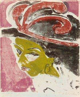Ernst Ludwig Kirchner: Kokottenkopf mit Federhut