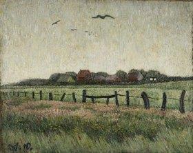 Wilhelm Morgner: Landschaft mit Krähen am Himmel