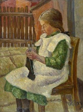 Wilhelm Morgner: Strumpf strickendes Mädchen