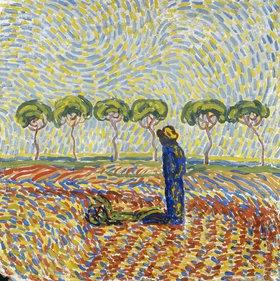 Wilhelm Morgner: Blauer Mann in gelber Landschaft