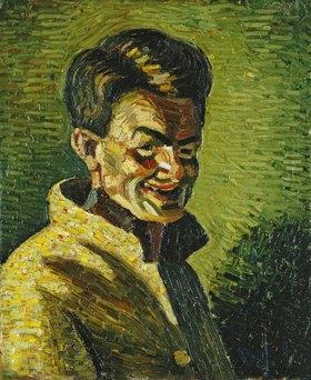 Wilhelm Morgner: Selbstbildnis II (Lachend in gelber Jacke)