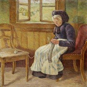 Wilhelm Morgner: Strickende weißhaarige Frau