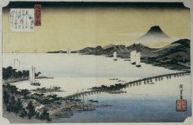 Ando Hiroshige: Abenddämmerung in Seta. Aus der Serie: Acht Ansichten des Sees Biwa