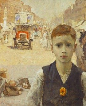 Ursula Wood: Sommer in London (Junge in einer verkehrsreichen Straße in London)
