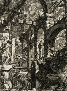 Giovanni Battista Piranesi: Carceri (Kerker) - Blatt 5: Die Löwenreliefs (aus der 4. Auflage, 1800-09)