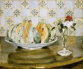 Auguste Renoir: Stillleben mit Melone und einer Vase mit Blumen