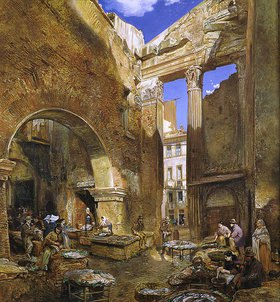Rudolf von Alt: Der Fischmarkt in Rom. Nach