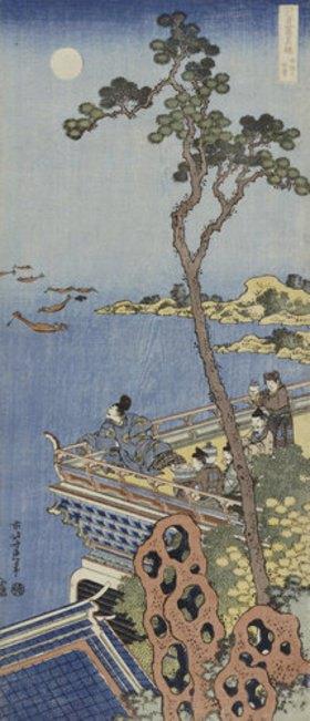 Katsushika Hokusai: Ein Höfling auf einem Balkon eines chinesischen Pavillons, bei Mondlicht in die Ferne blickend