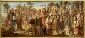 Philipp Veit: Die Einführung der Künste in Deutschland durch das Christentum; Farbenskizze zum Mittelbild des Freskos Inv.-Nr