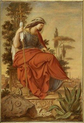 Philipp Veit: Italia. Farbenskizze zum linken Seitenbild des Freskos Inv.-Nr