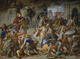 Julius Schnorr von Carolsfeld: Der Kampf an der Stiege. Fresko im Saal der Rache (Nibelungensäle) in der Residenz München