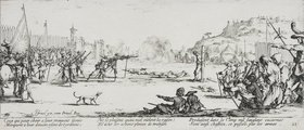 Jacques Callot: Les Miseres et les Mal-Heurs de la Guerre (Blatt 12): Die Erschießung