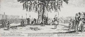 Jacques Callot: Les Miseres et les Mal-Heurs de la Guerre (Blatt 11): Die Gehenkten oder der Galgenba