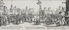 Jacques Callot: Les Miseres et les Mal-Heurs de la Guerre (Blatt 10): Der Wippgalgen
