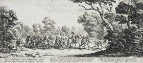 Jacques Callot: Les Miseres et les Mal-Heurs de la Guerre (Blatt 9): Die Entdeckung der Übeltäter