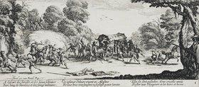 Jacques Callot: Les Miseres et les Mal-Heurs de la Guerre (Blatt 8): Der Überfall auf eine Kutsche