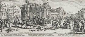 Jacques Callot: Les Miseres et les Mal-Heurs de la Guerre (Blatt 6): Die Zerstörung eines Klosters