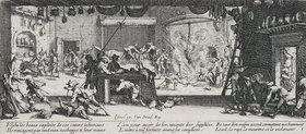 Jacques Callot: Les Miseres et les Mal-Heurs de la Guerre (Blatt 5): Plünderung auf einem Bauernhof
