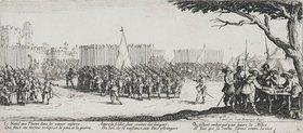 Jacques Callot: Les Miseres et les Mal-Heurs de la Guerre (Blatt 2): Die Anwerbung der Truppen