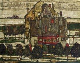 Egon Schiele: Einzelne Häuser (Häuser mit Bergen)